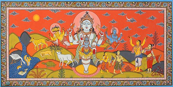 Брахма и Вишну, пытающиеся отыскать концы джйотирлингама