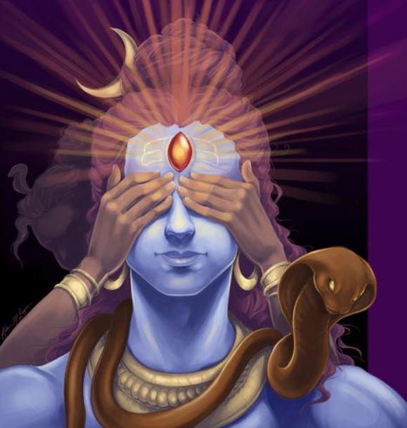 Шутки ради Парвати закрыла глаза Шивы руками. Так родился Андхака.