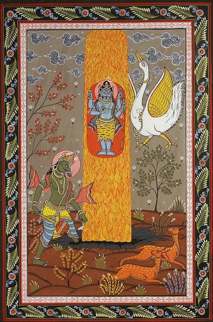 Шива в форме огненного столпа между Брахмой и Вишну
