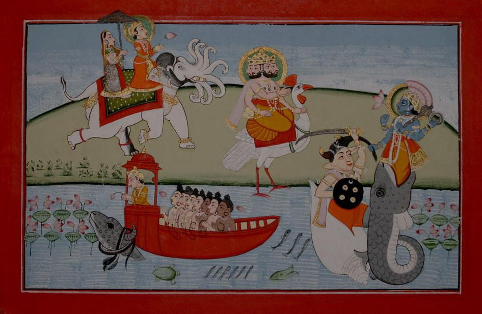 Ману в лодке, влекомой Матсьей (Вишну в облике гигантской рыбы)