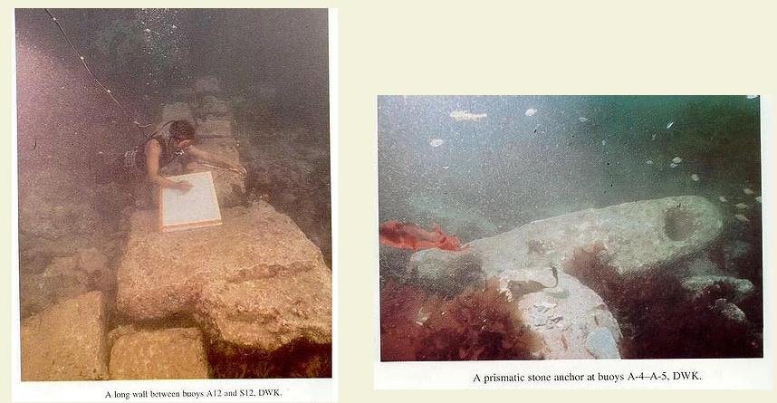 Рис. 6: Подводные руины легендарного города Дварака у побережья Западной Индии на глубине на 170 футов ниже уровня Аравийского моря. Источник: Потерянный город Дварака -  С. Р. Рао.
