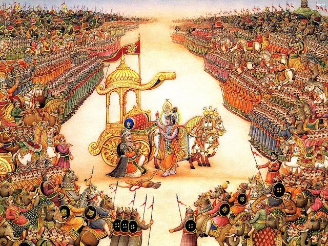 Кришна с Арджуной между двух армий на Курукшетре.