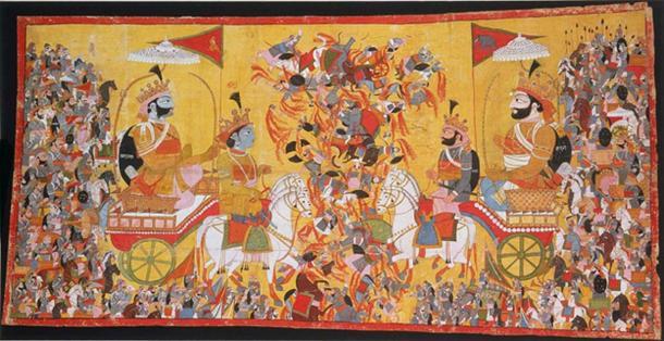 "Рисунок, изображающий описанную в ""Махабхарате"" битву на Курукшетре."