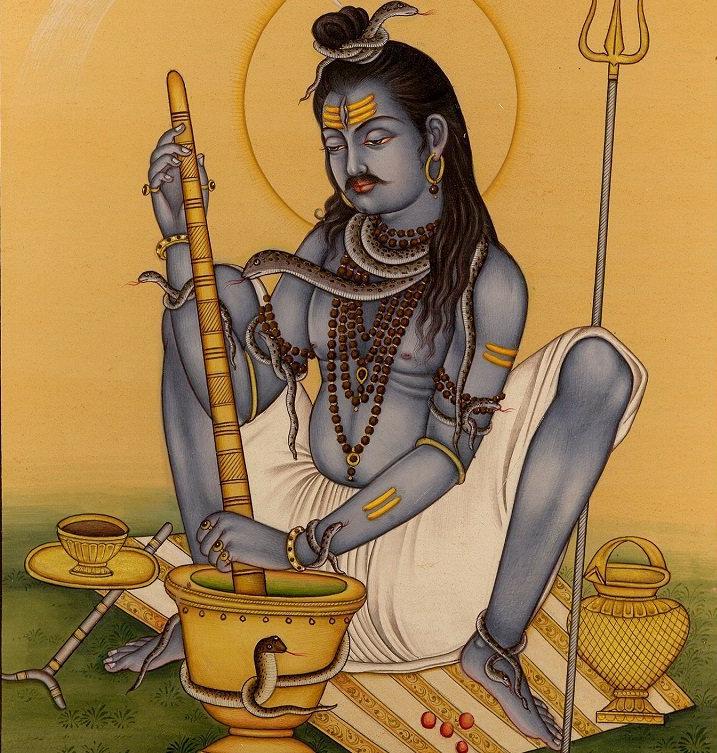 Шива, приготовляющий бханг.
