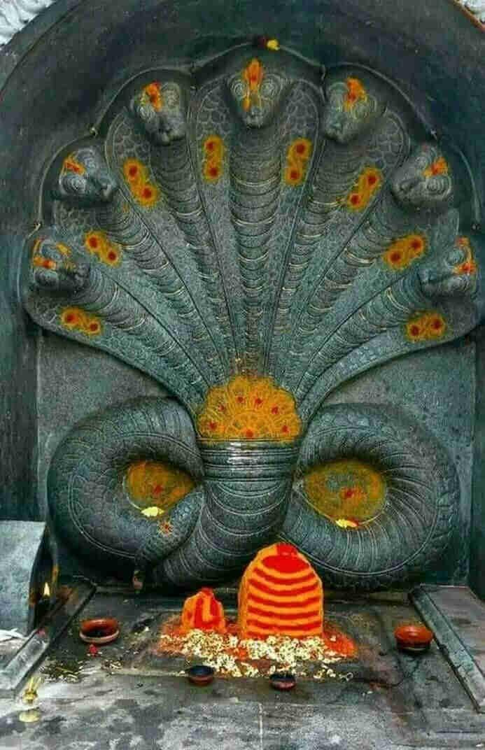 Барельефное изображение Васуки рядом с шивалингамом.