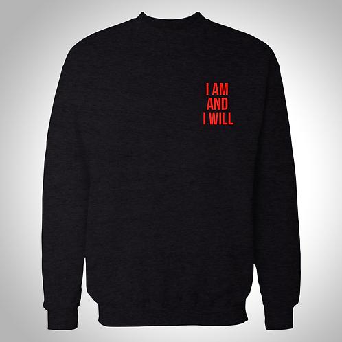 I AM Black Crewneck sweater red