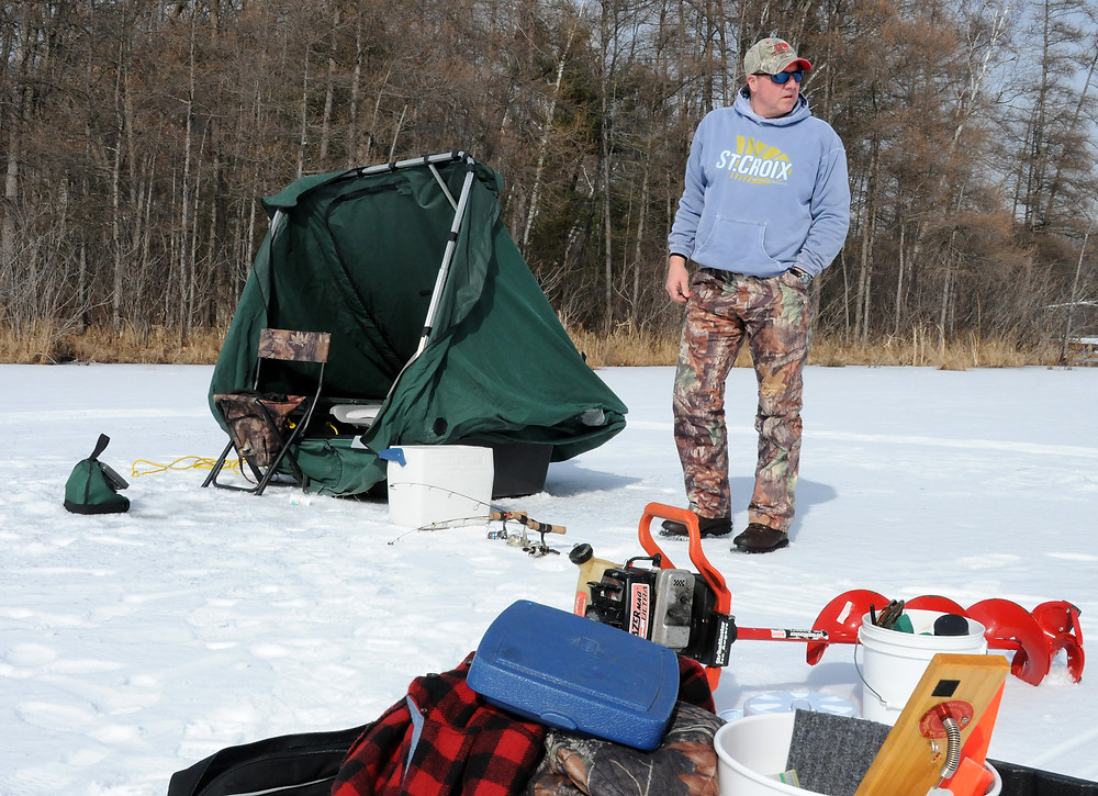 Tim Watson still chooses to ice-fish with Patrick Durkin nearly 50 years after seeing Durkin's ice-shanty nearly wipe out a large gathering of perch fishermen on Madison's Lake Monona.