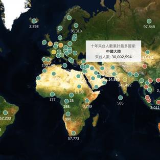 【CSR】數據地圖|台灣觀光產業 - 各國來台人數