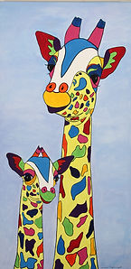 Multi coloured giraffes, mother and baby