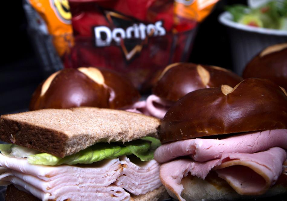 Yummy turkey and ham sandwiches.
