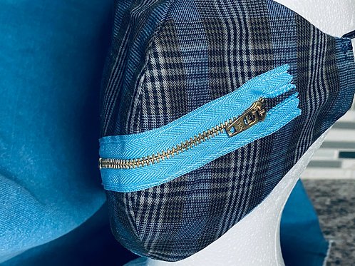 Blue Plaid Face Accessory with Zipper