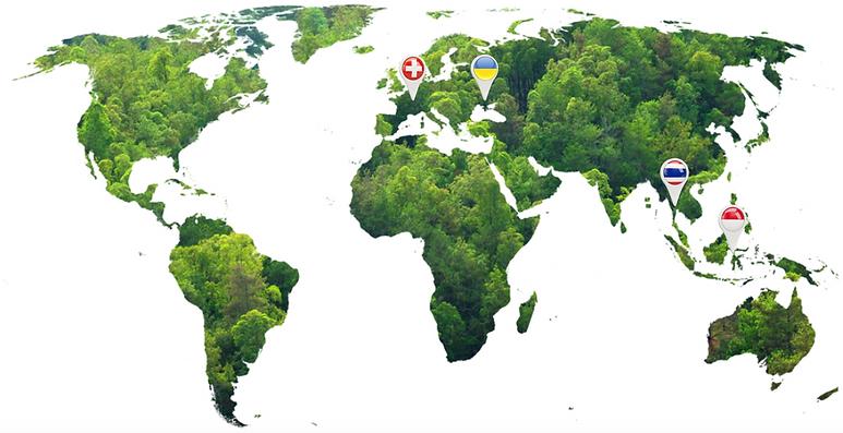 Carte avec les destinations les plus importantes