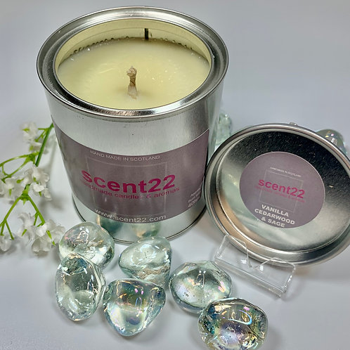 scent22 aroma candle Vanilla Cedarwood & Sage