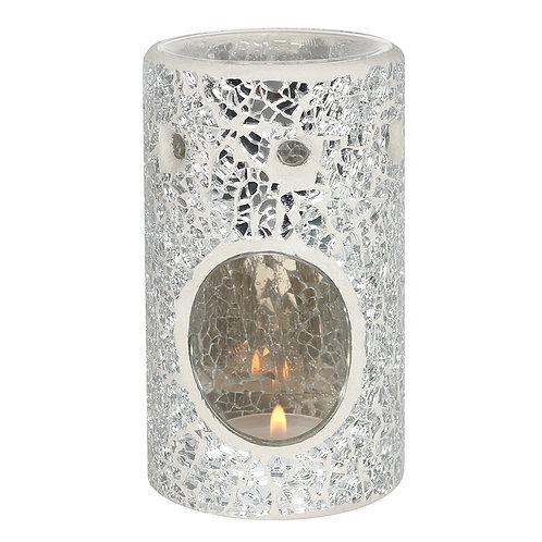 Silver Crackle Glass Pillar Wax Warmer