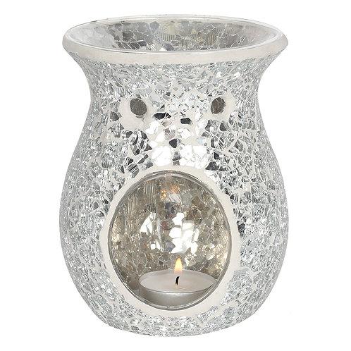 Silver Crackle Glass Wax Warmer