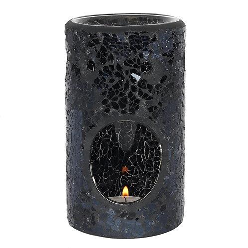 Black Crackle Glass Pillar Wax Warmer