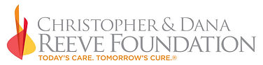 """The Christopher & Dana Reeve Foundation logo is in all caps, gray text. Below is a slogan, """"Today's care. Tomorrow's cure"""" in orange. To the left are geometric shapes in orange, red and yellow."""