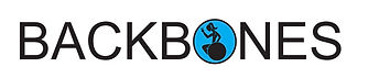 """Backbones logo – Black letters on a white background. The letter """"o"""" contains the silhouette of a person and wheelchair against a light blue backdrop."""