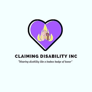 Black all caps bold lettering followed by the subtitle in italics and quotes, Wearing disability like a badass badge of honor. Above the text is a purple heart with a thick black outline. Inside the heart is a yellow flame with three diverse forearms and fists raised in unity.