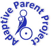 Parent with child on lap, in a wheelchair, with words Adaptive Parent Project in a semi-circle to the top. All in blue.