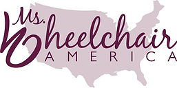 The Ms. Wheelchair America logo which includes a light lavender color map of the United States and dark purple cursive letters that read Ms. Wheelchair America.