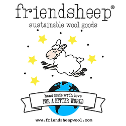 """""""FriendSheep Sustainable Wool Goods"""" appears above a drawing of a happy sheep jumping over a blue Earth against a backdrop of yellow stars. The Earth is wrapped in a banner reading """"Handmade with love for a better world."""""""