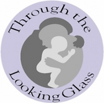 """The logo is a violet circle with the words """"Through the Looking Glass"""" written around the perimeter. In the middle is an image of two adults and a baby hugging. The colors are varying shades of gray."""