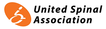 The words United Spinal Association are in black against a white  background. To the left is a deep orange oval tilted to the left, with a dynamic graphic in white of a person in a wheelchair.