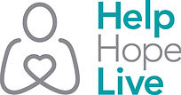 A linear drawing in gray of a person's head and arms, with the hands forming a heart. Help and Live are in a bold teal color. Hope is in gray.