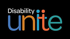 Black background with the words Disability Unite. Expanded description: Disability is in white lettering placed above the u and the n in unite. The letters of Unite are, in order, these colors: royal blue, a golden brown, teal blue, a muted orange and a muted green.