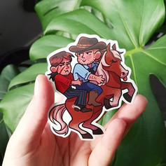 COWBOY WHEELIE STICKER__Link to shop in