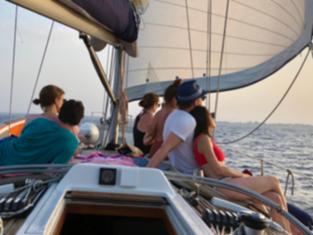 Group of people on a sailing boot at majorca