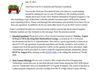 17-18 ECA Welcome Newsbrief #2