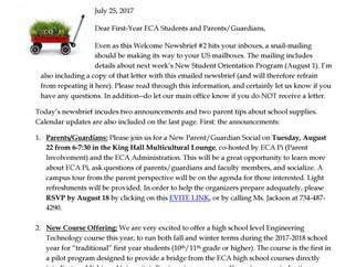 17-18 ECA Welcome Newsbrief #2