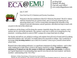 17-18 ECA Welcome Newsbrief #1