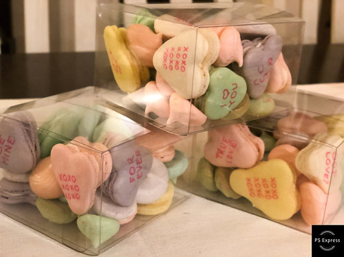 Conversation hearts box with merengue kisses