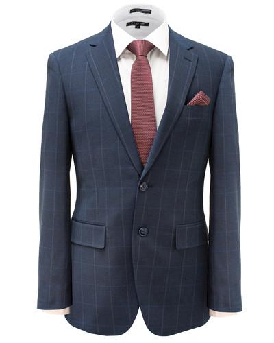 Blue Windowpane Slim Fit Suit