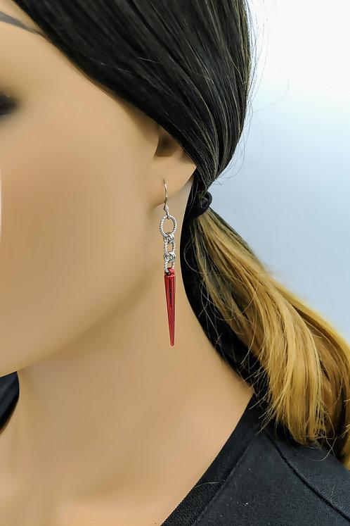 Red Spike Earrings