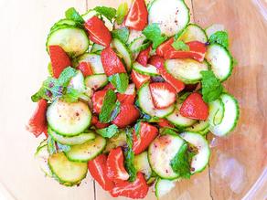 Cucumber & Strawberry Mint Salad