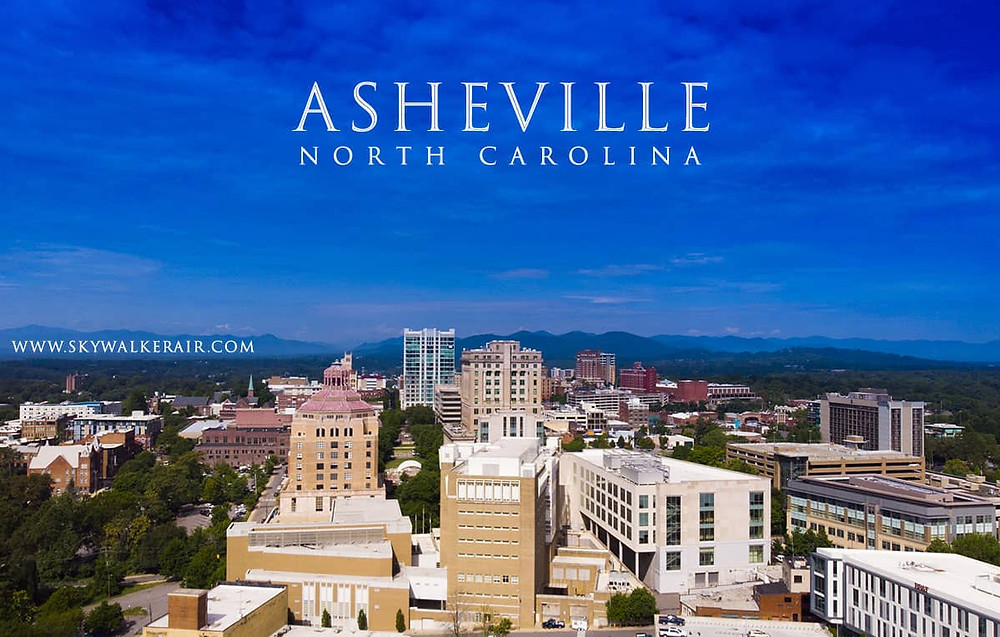 Aerial photo of downtown Asheville.