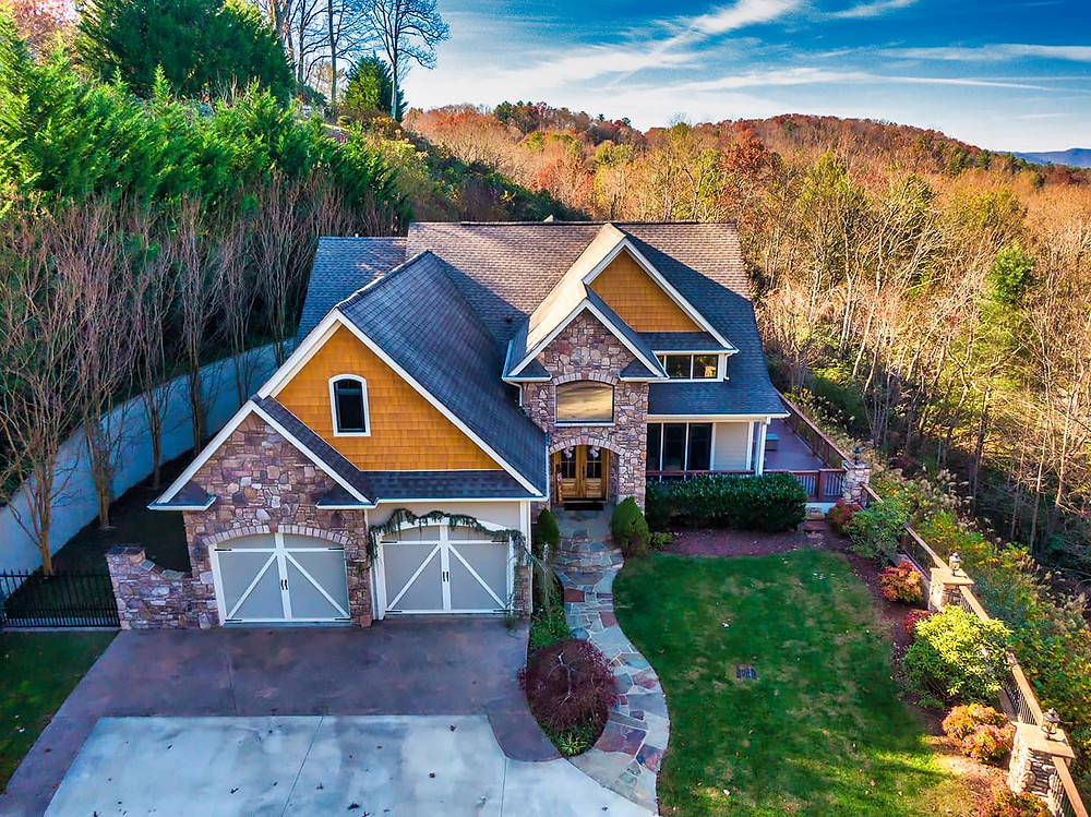 Drone photograph of Home in Asheville by Skywalker Air.