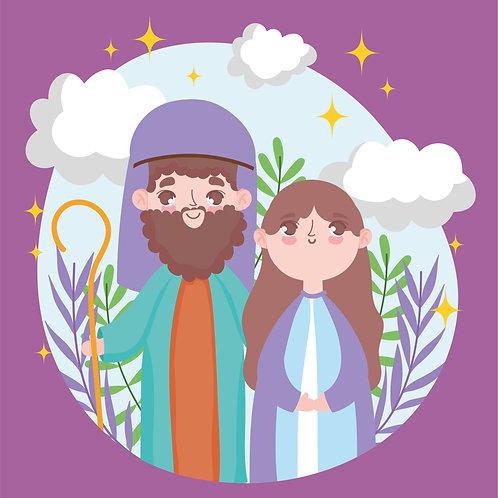 Đức Mẹ Maria và Giuse -  Vector Đồ Hoạ Công Giáo