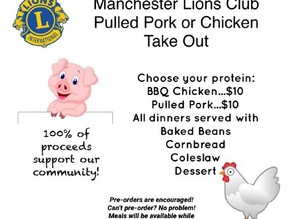 Manchester Lions Club | Pulled Pork or Chicken Take Out! | October 3, 2020