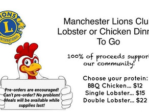 Manchester Lions Club | Lobster or Chicken Dinner to Go! | August 1, 2020