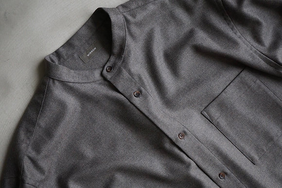 WIRROW  soft wool stand collar shirt (grege)