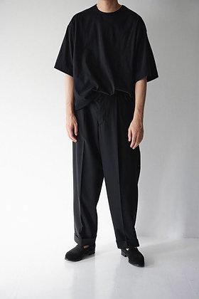 WIRROW  wool panama tapared slacks (black)