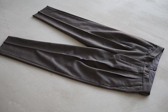 tilt The authentics  2tuck fine wool serge trousers (mix grey)