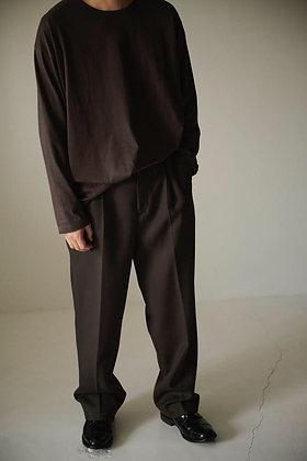 WIRROW  Wool gabardine straight slacks (black,dark brown)