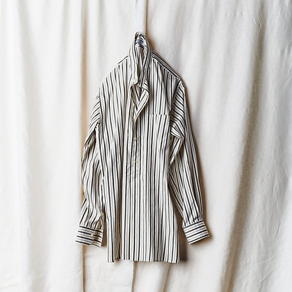 MAATEE&SONS  silk pull over shirts (olive stripe)