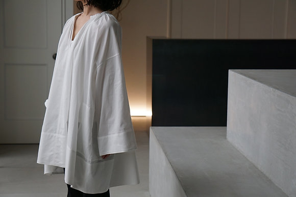 POSTELEGANT cotton pique dress (black,white)